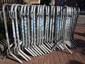Crowd control barrier - Image: NYPD metal crowd control barriers