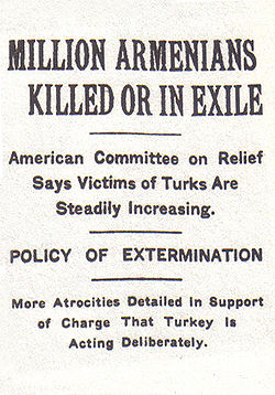 Newspaper clipping: MILLION ARMENIANS KILLED OR IN EXILE; American Committee on Relief Says Victims of Turks Are Steadily Increasing; POLICY OF EXTERMINATION; More Atrocities Detailed in Support of Charge That Turkey Is Acting Deliberately.