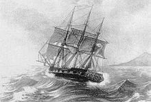 Gravure représentant un trois-mâts sur une mer légèrement agitée.