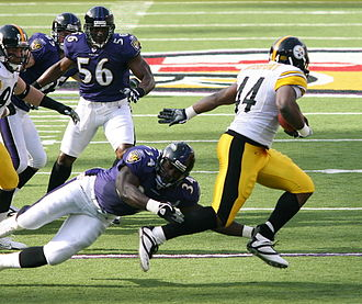 Gary Stills - Stills (56) playing against the Pittsburgh Steelers in 2006.