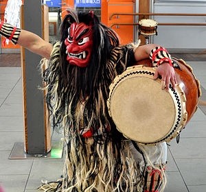 Namahage - A dancing drummer wearing a Namahage costume, performed Namahage-Daiko in Akita Station.