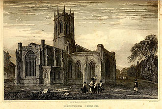 John Paget (Puritan minister) - Print of St Mary's Church, Nantwich, before the 19th century restoration.