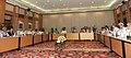 Narendra Modi chairing a meeting on monsoon, farming and rural economy, in New Delhi. The Union Minister for Water Resources, River Development and Ganga Rejuvenation, Sushri Uma Bharati.jpg