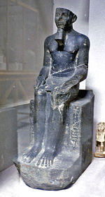 Statue of Mersekhemre Neferhotep II, who could be the same person as Mersekhemre Ined. Discovered in the Karnak cachette, now on display in the Egyptian Museum, CG 42024.