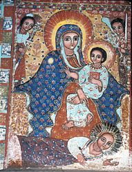 Contemporary painting of Mentewab laying prostate at the feet of Mary and Jesus at Närga Selassie.
