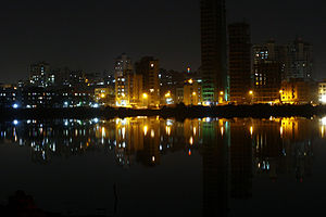 Nerul - Buildings in Nerul, Mumbai as seen from the Palm Beach Road
