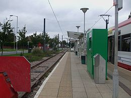 New Addington tramstop look north.JPG
