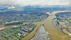 April 2015 aerial view of New Westminster