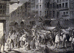 History of newspaper publishing - Newspaper being packed for delivery, Paris 1848
