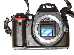 Nikon DX format - The Nikon D40 is a DX-format camera. Here, the DX-sized image sensor is exposed.