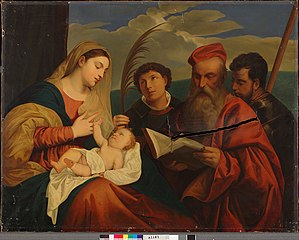 Mary with Child, St. Stephen, St. Jerome and St. Mauritius, a copy after Titian (Tiziano Vecellio)