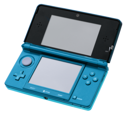 An open aqua-blue Nintendo 3DS system.