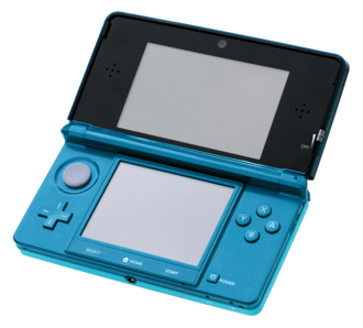 Nintendo 3DS - An aqua Nintendo 3DS in the open position.