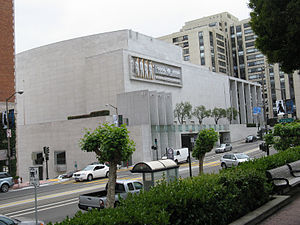 Emile Norman - The Nob Hill Masonic Center in San Francisco, California, featuring the mosaic window and exterior stone sculptures of Emile Norman