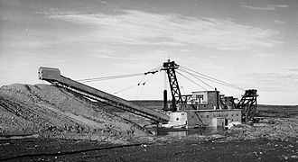 Gold dredge - Gold Dredge operating in Nome, Alaska in 1993