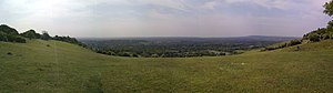 Vale of Holmesdale - View from North downs towards Reigate.