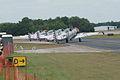 North American SNJ-4 Texans GEICO Skytypers Waiting SNF 04April2014 (14584492294).jpg