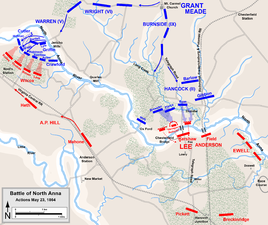 "Actions on May 23: Hancock attacks ""Henagan's Redoubt"", A.P. Hill attempts to repulse Warren's beachhead"