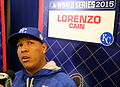 Now playing the role of Lorenzo Cain - Salvador Perez. (22862492246).jpg