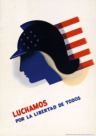 "Office of the Coordinator of Inter-American Affairs - ""We Fight for the Freedom of All"" — OCIAA poster by Edward McKnight Kauffer, promoting inter-American solidarity"