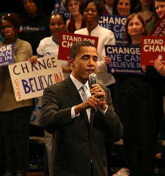 2008 United States presidential election in South Carolina - Presidential candidate Barack Obama addresses supporters the night before South Carolina's primary