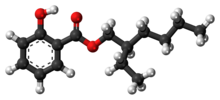 Ball-and-stick model of the octyl salicylate molecule