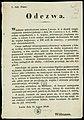 Odezwa. Inc. - Wiadomo mieszkańcom miasta Lwowa, iż skutek rozporządzenia ministeryjalnego z dnia 19. Czerwca r.b. L. 1083, celem uzupełnienia c.k. wojska, rekrutacyja rozpisaną została, a miasto Lwów rozkaz... (65767190).jpg