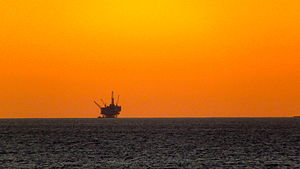 Offshore drilling - An oil drilling platform off the coast of Santa Barbara, CA - 6 December 2011