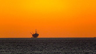 Oil platform - An oil drilling platform off the coast of Santa Barbara, CA - 6 December 2011