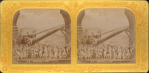 A Trip to the Moon - Stereoscope card showing a scene from Jacques Offenbach's Le voyage dans la lune