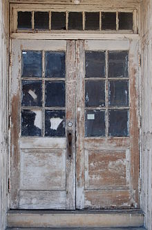 Elegant Old Double French Doors (6 Lites Each), With Hinges On The Exterior, They  Must Open Outward; It Is Uncertain Whether There Is A Central Mullion, ...