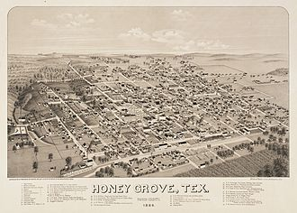 Honey Grove, Texas - Map of the city in 1886