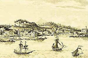 Argostoli - Gravour of Argostoli, c.1757.