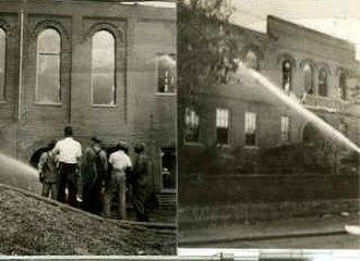 Opelika High School - Opelika High School burns, 1917.
