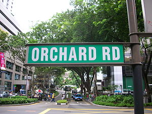 Street sign for Orchard Road in Singapore.