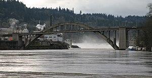 Course of the Willamette River - Oregon City Bridge and Willamette Falls