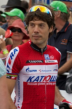 Óscar Freire disputant el Tour Down Under 2012