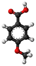 Ball-and-stick model of the p-anisic acid molecule