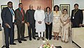 PM Modi with Guyanese President and other dignitaries on the sidelines of Pravasi Bharatiya Diwas.jpg
