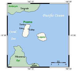 Paama, neighbouring islands and main centres