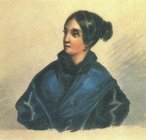Varvara Bakhmeteva - Barbara Bakhmetev. Painting by Lermontov in 1835, the year of her marriage.