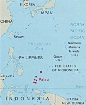 Geography of Palau - Map of Palau and its location in Oceania