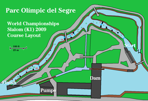 Segre Olympic Park - Arrangement of the slalom gates for the final kayak (K1) race of the World Championships, September 13, 2009.