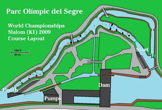Segre Olympic Park - Arrangement of the slalom gates for the final kayak (K1) race of the World Championships, September 13, 2009.