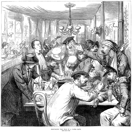 """Discussing the War in a Paris Cafe""--a scene published in the Illustrated London News of 17 September 1870. ParisCafeDiscussion.png"