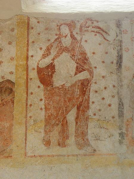 Peinture murale de l'église Saint-Pierre de Parné-sur-Roc (53). Christ ressuscité.