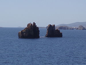 MS Express Samina - The Portes islets off the bay of Parikia, which the ship impacted with.