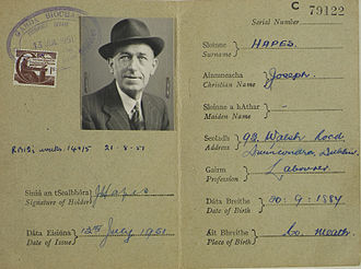 Irish passport - An Irish passport's information page from 1951