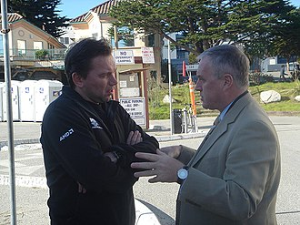Johan Bruyneel - Bruyneel (left) with Pat McQuaid during the 2006 Tour of California