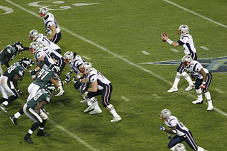 Super Bowl - The Patriots playing against the Eagles in Super Bowl XXXIX.